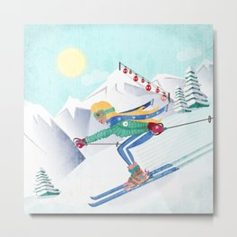 Skiing Girl Metal Print