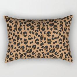 Leopard - Black Brown on Tan Rectangular Pillow