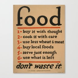 Vintage poster - Don't Waste Food Canvas Print