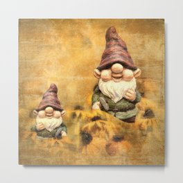 Gnomes in The Daisies Metal Print