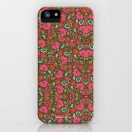 Magenta Floral Pattern iPhone Case