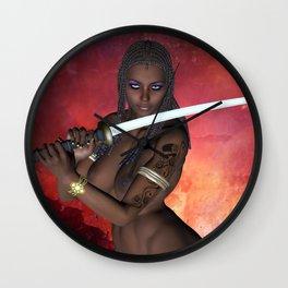 Dark Samurai sword girl nude Wall Clock