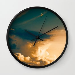 Heavenly Pastel Beige Clouds Turquoise Space Crescent Moon Fantasy Photo Wall Clock