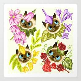 Forest fairy siamese cat Art Print