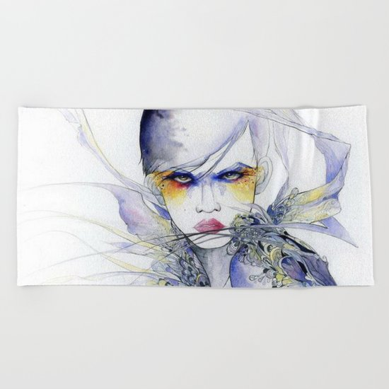 Sophisticated lady #watercolor Beach Towel