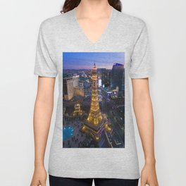 Aerial view of the Eiffel tower in Las Vegas Unisex V-Neck