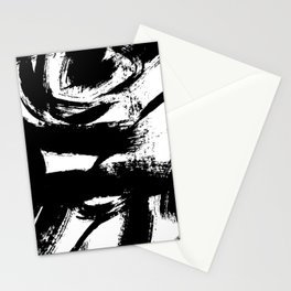 Black and White Brush Strokes Stationery Cards