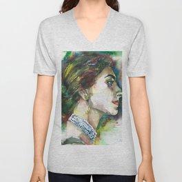 MARIA CALLAS watercolor portrait.11 Unisex V-Neck