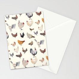 Chicken Happy on Cream Background Stationery Cards