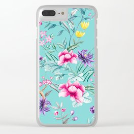 Chinoiserie Decorative Floral Motif Pale Turquoise Clear iPhone Case