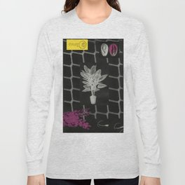 Strong Saints - Magic Dark collage with key, saints, net, shells, plants and grid Long Sleeve T-shirt