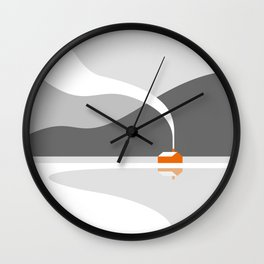 Orange Cabin in the Snow Wall Clock