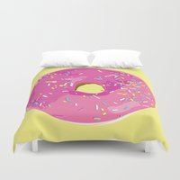 donut Duvet Covers featuring donut by Britt Mansouri