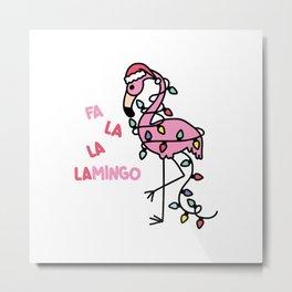 Christmas Flamingo Metal Print