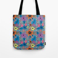 70s Tote Bags featuring 70s floral by Lara Gurney