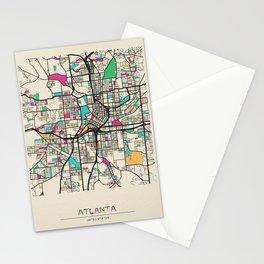 Colorful City Maps: Atlanta, Georgia Stationery Cards