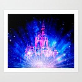 Princess Fairy Tale Enchanted Castle Pink & Blue Art Print