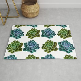 Succulents Pattern (Green & Blue) Rug