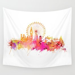 London skyline map city pink Wall Tapestry