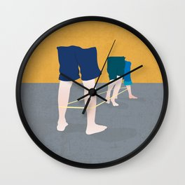 Kids at the elastic game Wall Clock