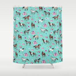 Hand drawn horses, Flower horses, Floral Pattern, Aqua Blue Shower Curtain