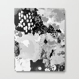 Serrin - black and white abstract painting dots paint brushstrokes dorm college decor Metal Print