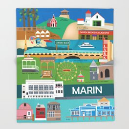 Marin County, California - Collage Illustration by Loose Petals Throw Blanket