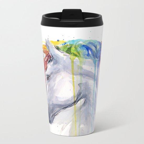 Rainbow Unicorn Watercolor Animal Magical Whimsical Animals Metal Travel Mug
