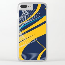 Blue Yellow  Abstract Future Technical Clear iPhone Case