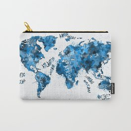 world map color splatter blue Carry-All Pouch
