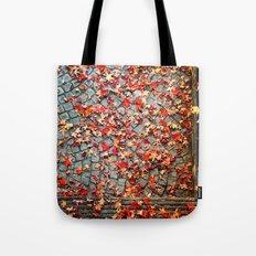 Red Leaves, Grey Stones Tote Bag