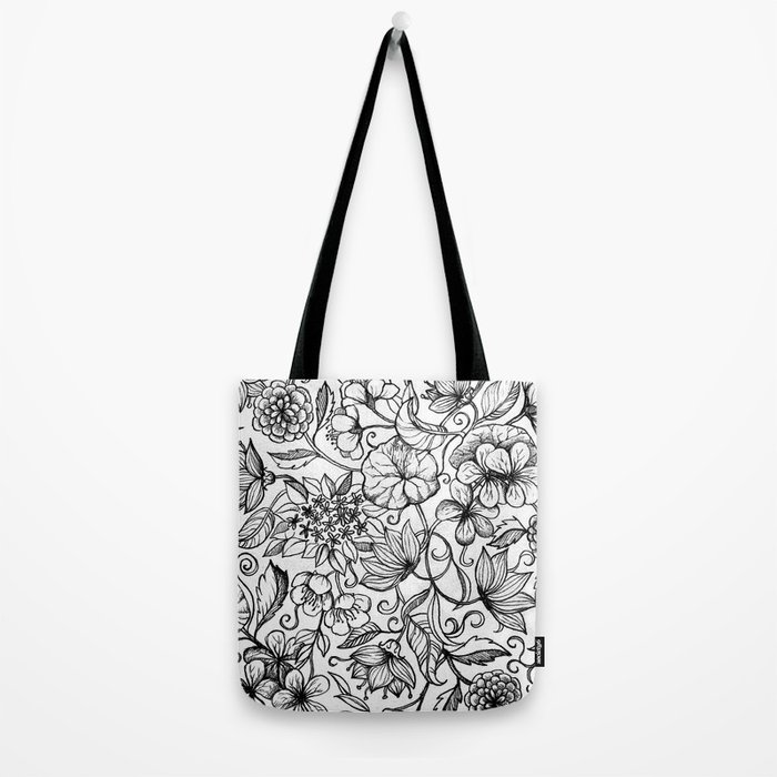 Hand drawn pencil floral pattern in black and white Tote Bag