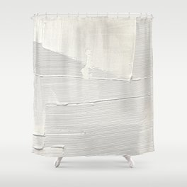 Relief [1]: an abstract, textured piece in white by Alyssa Hamilton Art Shower Curtain