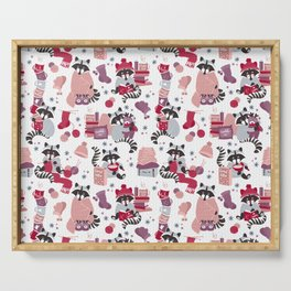 Hygge raccoon // white background Serving Tray
