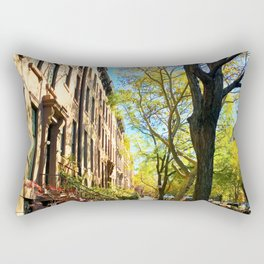 Cobble Hill Brooklyn New York in the Fall, Brownstones Rectangular Pillow