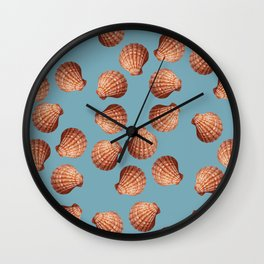 Light blue Big Clam pattern Illustration design Wall Clock