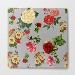 Grey vintage roses Metal Print