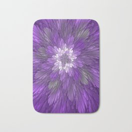 Psychedelic Purple Flower, Fractal Art Bath Mat