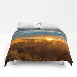 Misty Gold Mountain Sunset Comforters
