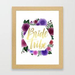 Shiny gold Bride Tribe (floral hexagon) Framed Art Print