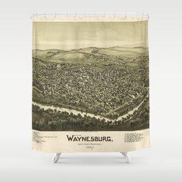 Aerial View of Waynesburg, Pennsylvania (1897) Shower Curtain