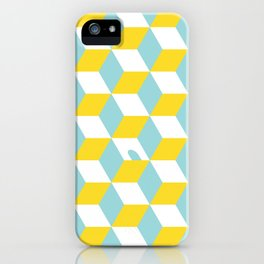 Cubes with Doorway Pattern ~ limpet shell blue iPhone Case