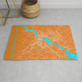 Derry~Londonderry, Northern Ireland, Gold, Blue, City, Map Rug