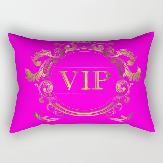 VIP in Hot Pink and Goldtones Rectangular Pillow