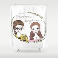 moonrise kingdom Shower Curtains featuring Moonrise kingdom by Virginia Bei