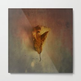 Lonely Autumn Leaf Metal Print