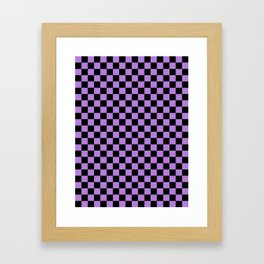 Black and Lavender Violet Checkerboard Framed Art Print