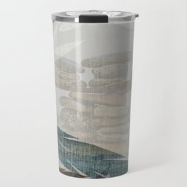 Zen Stacked Rocks on Beach Graphic Feathers and Branches Travel Mug
