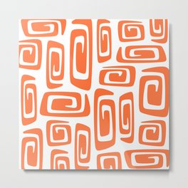 Mid Century Modern Cosmic Abstract 613 Orange Metal Print