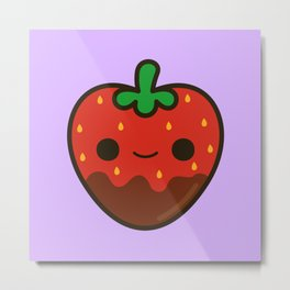 Cute chocolate dipped strawberry Metal Print